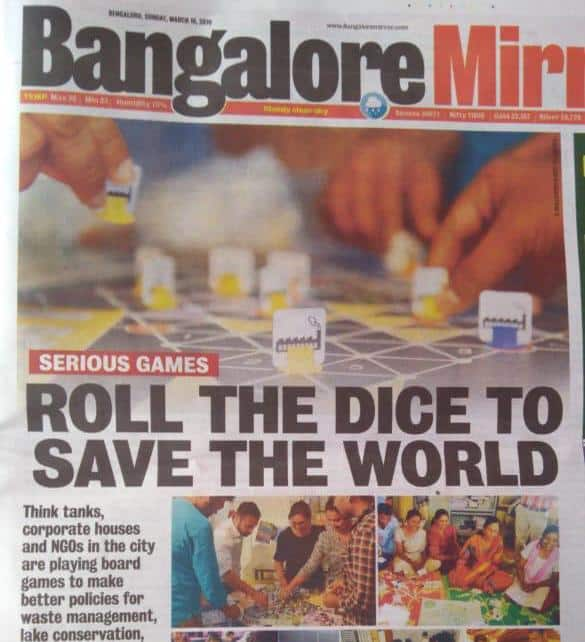 """""""Can playing board game save the world?""""  Find out in the Bangalore Mirror"""