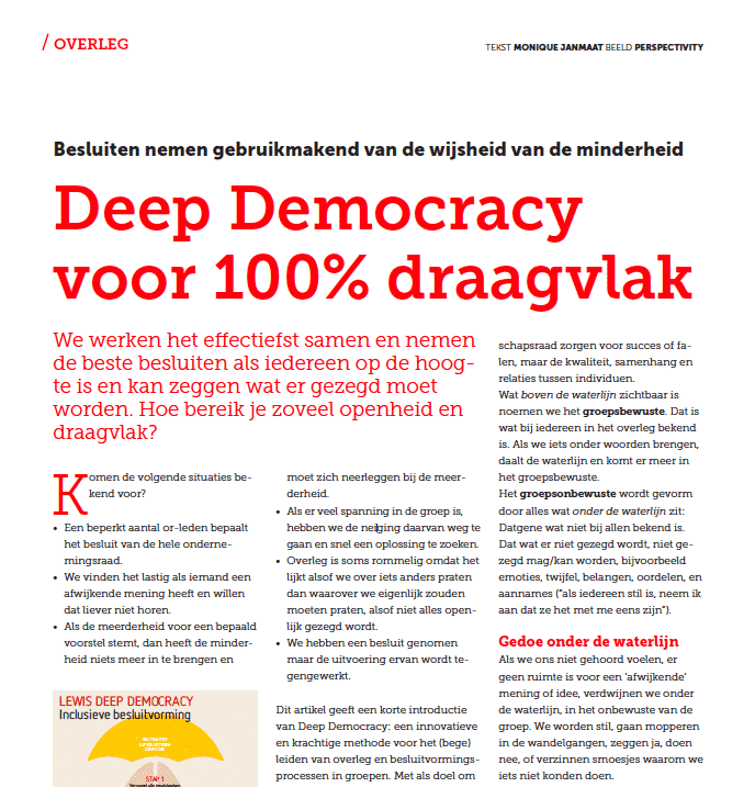 """Deep Democracy for 100% support"" article in OR Magazine"